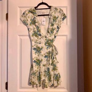 1st sight XS floral wrap ruffle dress NWT